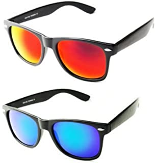 Lunettes de soleil style Wayfarer - Geek Retro Vintage 80's - Verres effet miroir essence - Monture Blanc - Fashion Tendance 5e4xKGejw