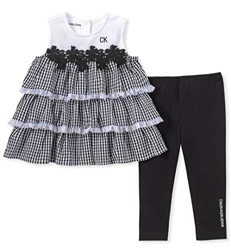 Calvin Klein Baby Girls 2 Pieces Legging Set Pants, Black/White, 3-6 Months (Newborn 5 Piece Set)