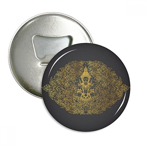 Thai Symmetrical Gold Foil Illustration Round Bottle Opener Refrigerator Magnet Pins Badge Button Gift 3pcs by DIYthinker