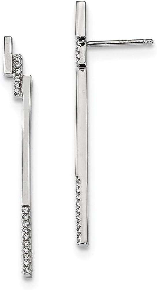 Lex /& Lu Sterling Silver w//Rhodium CZ Post Earrings LAL110418