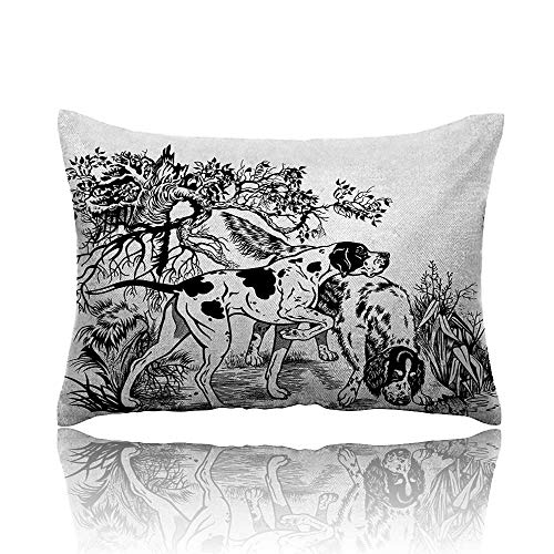 homehot Hunting Cool Pillowcase Hunting Dogs in The Forest Monochrome Drawing English Pointer and Setter Breeds Long Pillowcase 13