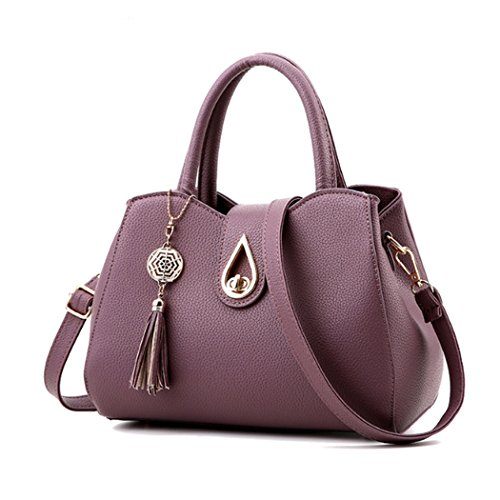 New Women Handbag Shoulder Bags Tote Purse Faux Leather Women Messenger Bag with Heart Dark Purple