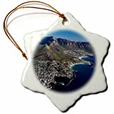 3dRose orn_188018_1 Sea Point, Bantry Bay, Clifton Beach, Cape Town, South Africa Snowflake Porcelain Ornament, 3''