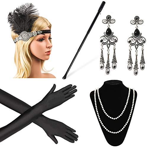 Beelittle 1920s Accessories Headband Earrings Necklace Gloves Expandable Cigarette Holder (A)