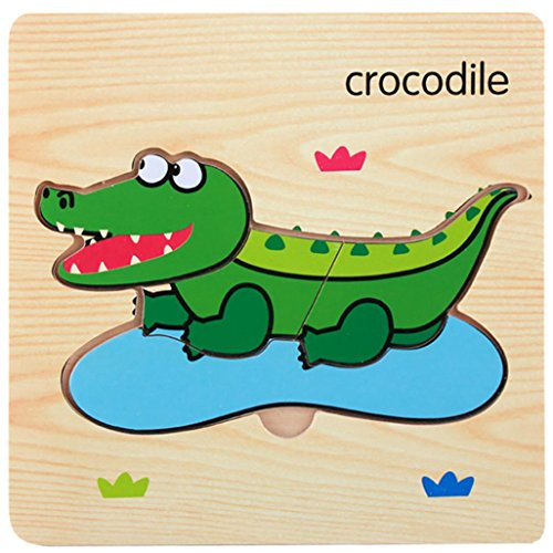 Puzzle Games,Animal Jigsaw,Hometom Wooden Magnetic Puzzle Educational Developmental Baby Kids Training Toy Gift (H)