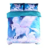 Beddinginn Blue Unicorn Bedding Set White Flying Unicorn Duvet Cover Set 4pcs 3d Galaxy Bed Cover Set No Comforter(Queen)