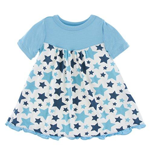 KicKee Pants Little Girls Print Classic Short Sleeve Swing Dress, Confetti Star, - Print Dress Confetti