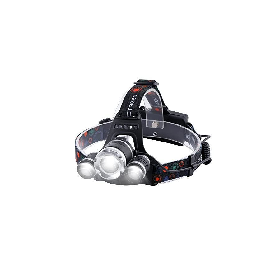 Victagen Waterproof LED Headlamp,Hands Free Zoomable Bicycle Headlight,for Outdoor Sports