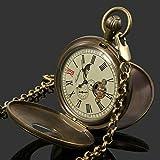 Hand-winding Antique Mechanical Mens Pocket Watch Retro Tourbillon Copper Case