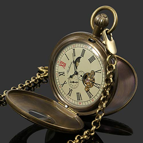 (Hand-winding Antique Mechanical Mens Pocket Watch Retro Tourbillon Copper)