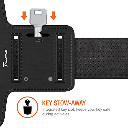 Large Product Image of Trianium Armband For iPhone X 8 7 6 6S Plus, LG G6, Galaxy s9 + s8 s7 s6 Edge, Note 8 5 (Fit Otterbox Defender/Lifeproof case) [Water Resistant] ArmTrek Pro Sports Exercise Running Pouch Key Holder