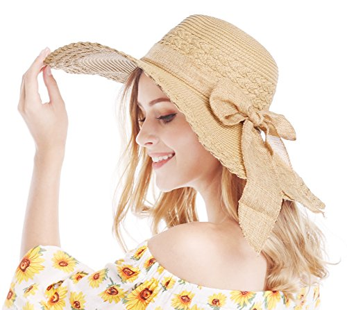 Bienvenu Women Large Brim Straw Beach Sun Floppy Hat, Camel Color