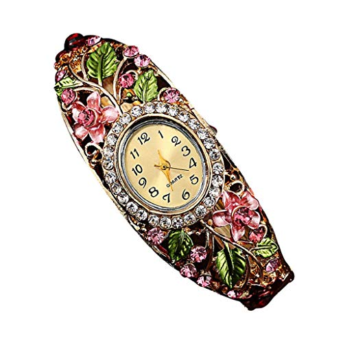 AmyDong Women Retro Diamond Bracelet Watch Women Bangle Crystal Flower Bracelet Quartz Watch Wristwatc (Pink) ()
