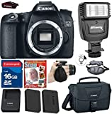 Canon EOS Rebel 70D DSLR +(No Lens) +Extra High Capacity battery +16g Commander High Speed Memory Card +Canon Professional Camera Bag +Deluxe Wrist Grip +Top Value Bundle - International Version