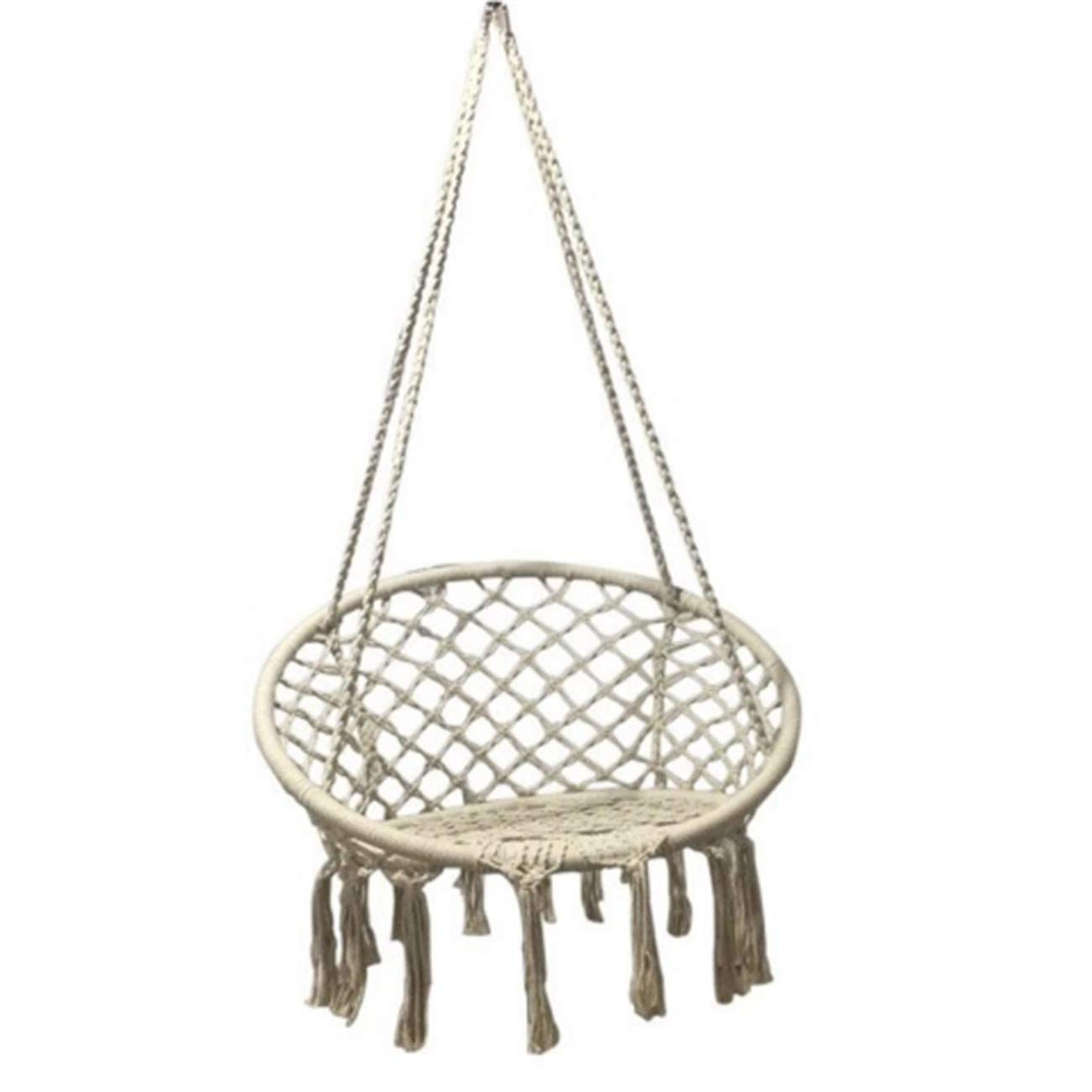 Tywk Swing Hanging Chair Handmade Cotton Rope Made of Hammock Chair Hollow Tassel Hanging Basket Swing for Living Room Balcony and Other Scenes, White, Bearing 200kg by Tywk