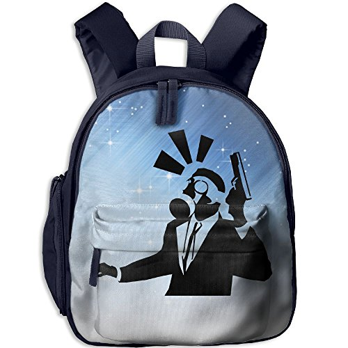Student School Bags Backpack Daypack Gas Masked Gangster During A Bank Robbery Super Bookbag Break For Kids Navy - Gangster Oxford