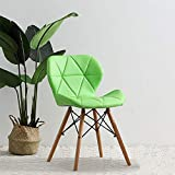 Living Room Leisure Chair, Side Reception Chair, Butterfly Chair with Leather Cushion Seat and Beech Wood Legs, JOYBASE Accent Furniture for Bedroom, Office, Café and Home Decor (Green)