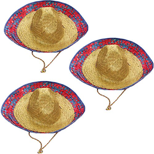 Sombrero Hats - 3 Pack Child and Adult Sizes Costume and Dress Up Hat by Funny Party Hats