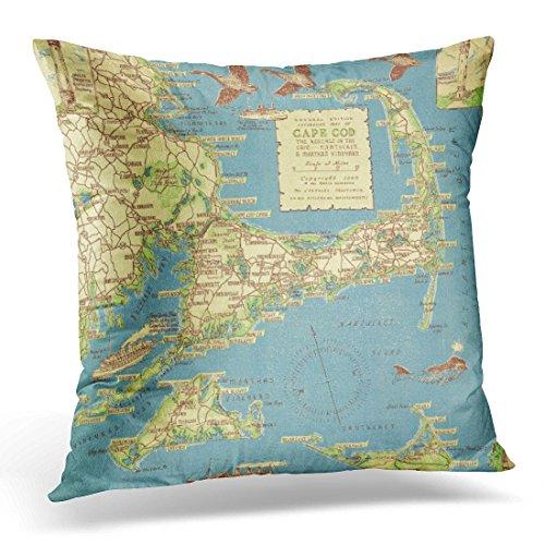 Emvency Throw Pillow Cover Nostalgic Vintage Cape Cod Map Old Decorative Pillow Case Home Decor Square 20 x 20 Inch Pillowcase