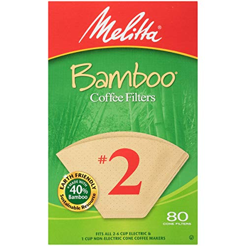 Melitta Bamboo Coffee Filters, Bamboo No 2, 80-Count Boxes (Pack of 6)