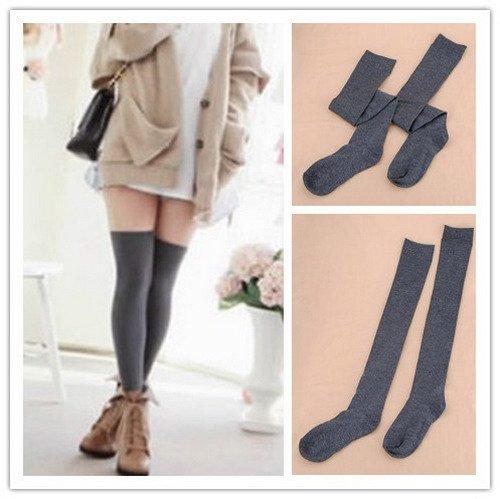 Medias Calcetines Algodón Rodilla Leg Mujer Caliente Invierno Stockings Socks Calcetines botas gris: Amazon.es: Zapatos y complementos