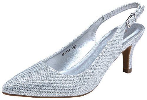 VOSTEY Women Low Heel Dress Shoes Kitten Heel Slingback Pumps(8,Silver Glitter)