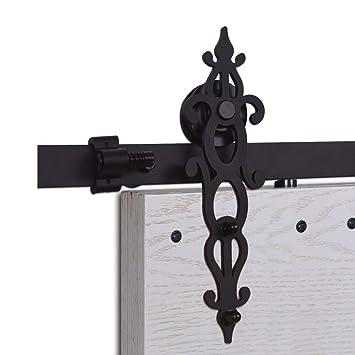 CCJH 5FT-153cm Herraje para Puerta Corredera Kit de Accesorios para Puertas Correderas Rueda Riel Juego para Una Puerta de Madera: Amazon.es: Bricolaje y ...