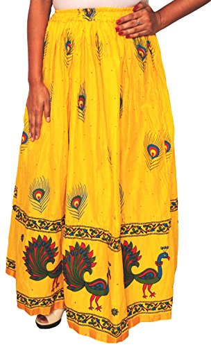 Printed Cotton Womens Long Skirt Indian Clothing (Yellow) - Hand Block Printed Cotton Skirt