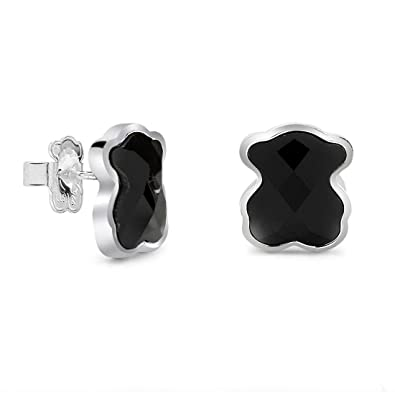 8693104bf6c3 Image Unavailable. Image not available for. Color  TOUS Black Onyx Bear  Sterling Silver Stud Earrings ...