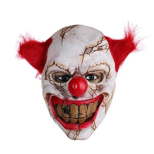 Halloween Latex Scary Clown Mask with Red Hair for Adults and Children,Halloween Costume Party Props Masks -