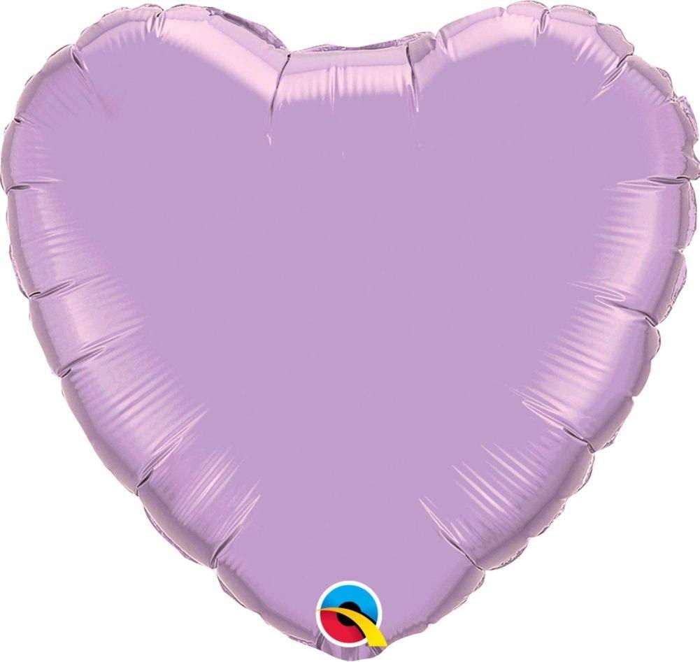 Pearl Lavender 4 (Pack Quantity12) NANA'S PARTY Qualatex Couleur Unie en Forme de cœur Feuille Décoration de Ballons de fêtes {Air Helium}, Rose or, 36 (Pack Quantity12)