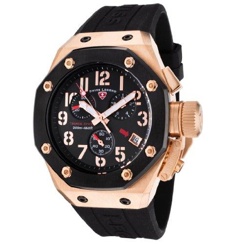 - Swiss Legend Men's 10541-RG-01-BB Trimix Diver Collection Chronograph Black Rubber Watch