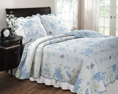 Greenland Home Coral Blue King 3-Piece Quilt Set