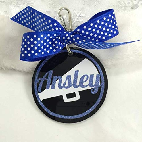 Cheerleader Megaphone Bag Tag on Black Personalized with Your Name and Your Colors -