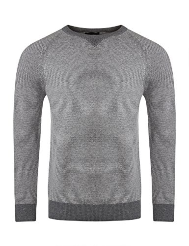 Mens Made In Scotland 100% Lambswool Crew Neck Striped Pullover With Neck Detail-Dove Grey-Large (Lambswool Striped Sweater Crewneck)