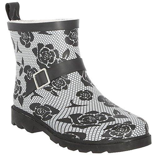 Capelli New York Ladies Short, Sporty, Lined Rainboots Black White