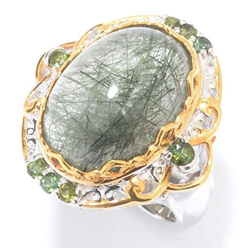 Green Rutilated Quartz (Michael Valitutti Palladium Silver Oval Green Rutilated Quartz & Tourmaline)