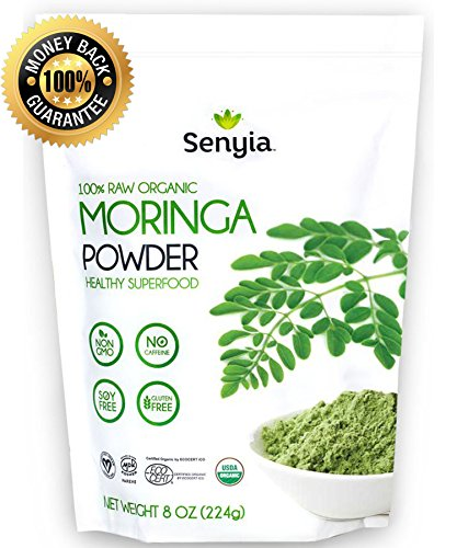100% Pure Organic Moringa Leaf Powder – Green Superfood Vegan Raw Nutrition – Complete Vegetarian Plant Protein, Energy Booster, Antioxidant, Amino Acids, Weight Loss, Keto Diet Vitamin Supplement For Sale