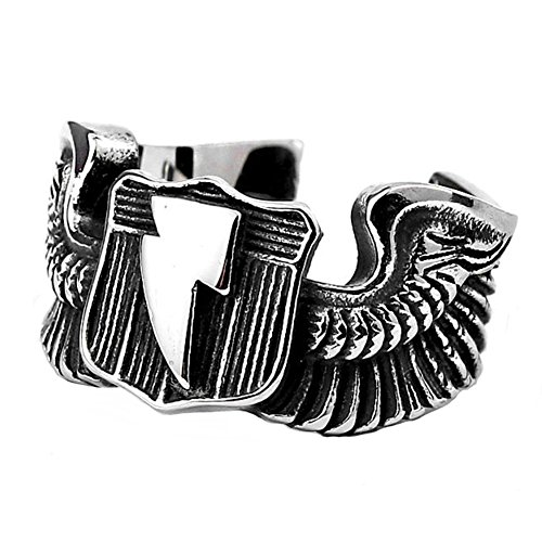 - LILILEO Jewelry Titanium Steel Fighting World War II Flying Tigers Lightning Wings Open Ring For Men's Rings