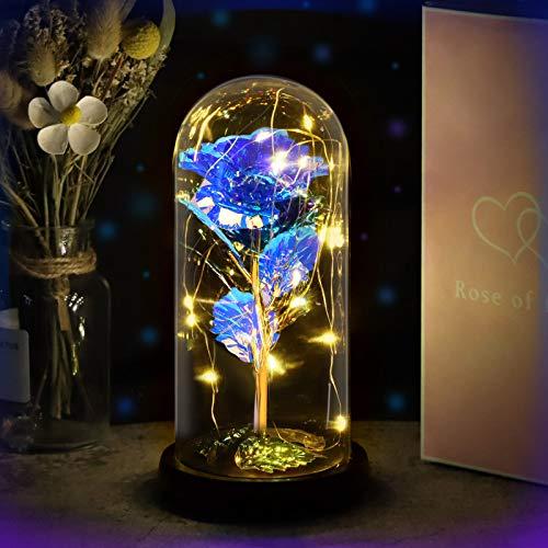 Yodeace Rosa Eterna Azul, Flor Azul Artificial En Cúpula de Cristal con Luz LED Tarjeta de Felicitación para San…