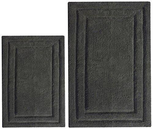 Chardin Home - 100% Cotton two Piece Classicc Bath Rug Set, (21''x34'' & 17''x24'') with anti-skid spray latex back, Platinum Gray (Grey Bath Mat Set)
