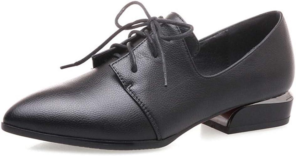 Women Low Heel Leather Work Shoes