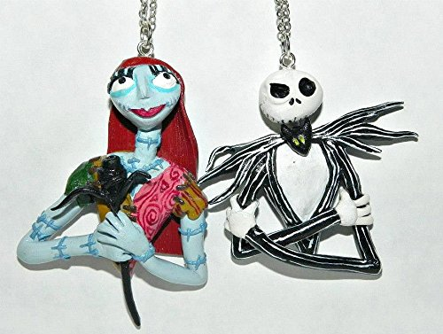 Dead Girl and Skeleton Couple Necklace Set, Hand Sculpted, (Nightmare Before Christmas Couples Necklace)