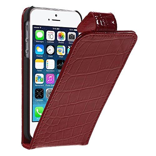 Apple iPhone SE 5 5S Handy Tasche Flip Case Croco Muster Vertikal Klapp Etui Schutz Hülle Rot