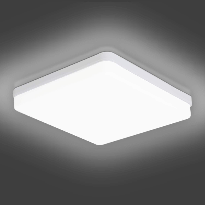 LED Lámpara de Techo Moderna 36W LED Plafón Ketom Blanco Frío 6500K 3240LM Cuadrado Lamparas de Techo, Ultra Delgado IP44 Lámpara LED de Techo Para Dormitorio Baño Cocina Pasillo Comedor, Ø23cm
