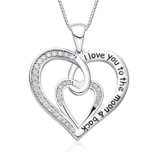 "FANCYCD ""I Love You to The Moon and Back Love Heart Necklace, 18"", Jewelry for Women & Girls, for Girlfriend, Wife, Sister, Aunt, Grandma, Mom"