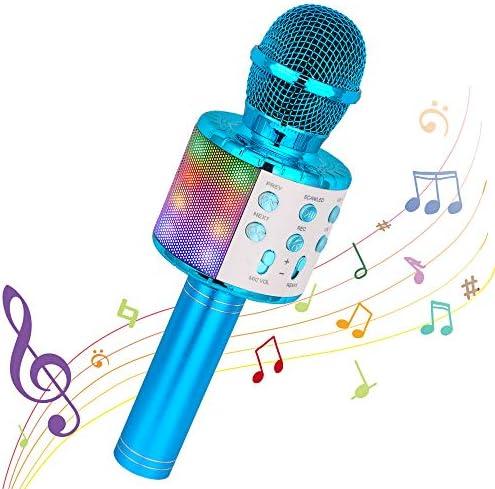 Bluetooth Karaoke Wireless Microphone, Ankuka 4 in 1 Handheld Karaoke Machine Speaker Player with Dancing LED Lights for Home KTV Party/Kids Singing (Blue)