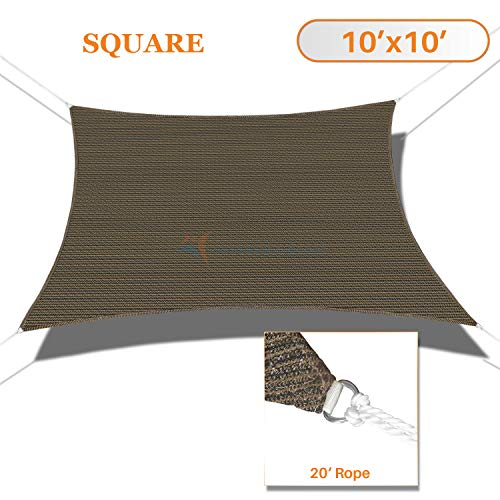 TANG Sunshades Depot 10 x10 Sun Shade Sail Square Permeable Canopy Brown Coffee Custom Commercial Standard 180 GSM HDPE