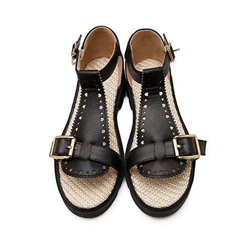 Black Platforms Sandals 1TO9 Fashion MJS03240 Marking Urethane Non Womens Oversized Pn00wYaRzq