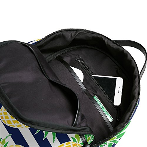 Use4 Striped Pineapple Fruit Retro Polyester Backpack School Travel Bag by ALAZA (Image #6)